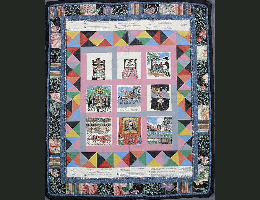 Quilt-like portrait with panels depicting the artist's life