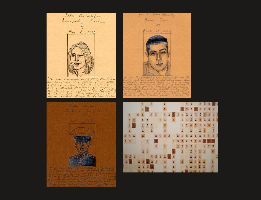 Small drawings of service people who have died in Iraq and Afghanistan