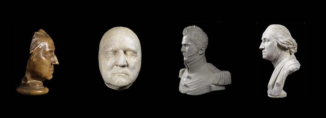 plaster casts and bust portraits of four men