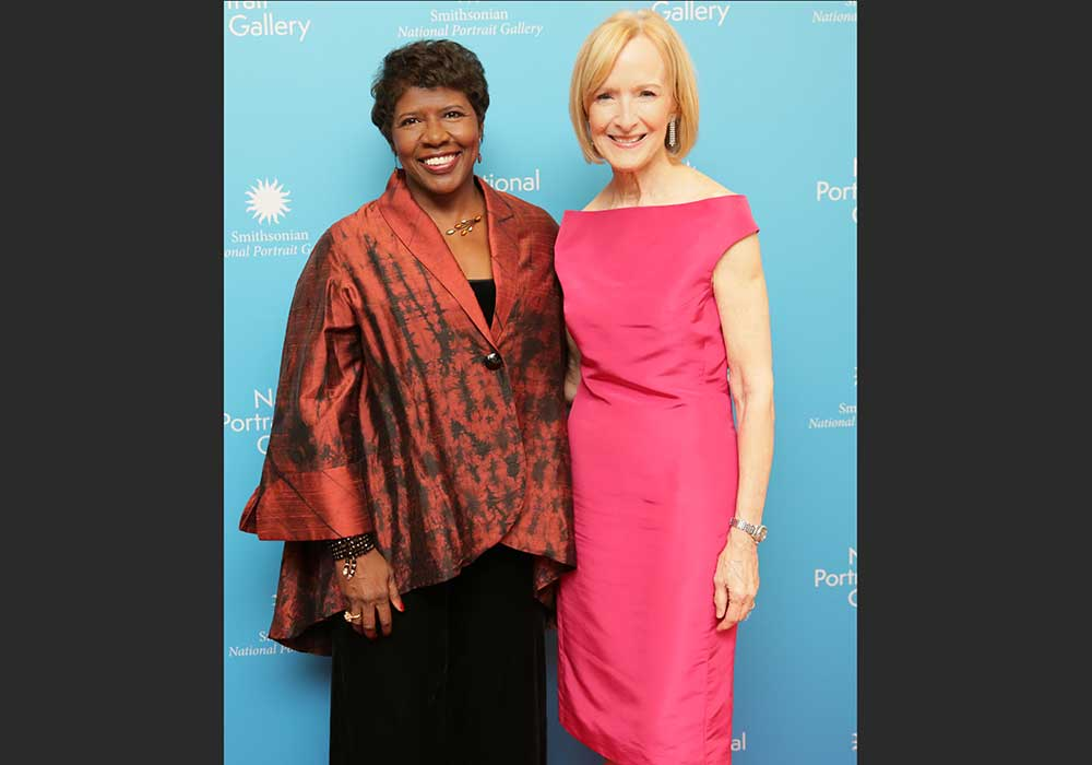 Gwen Ifill and Judy Woodruff. standing together