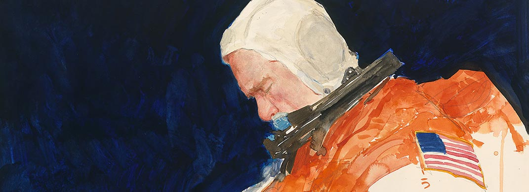 painting of an astronaut in spacesuit against a black background