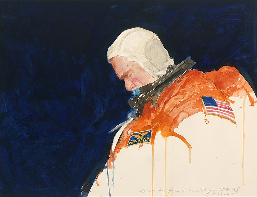 Watercolor of an astronaut in full gear with his head down.