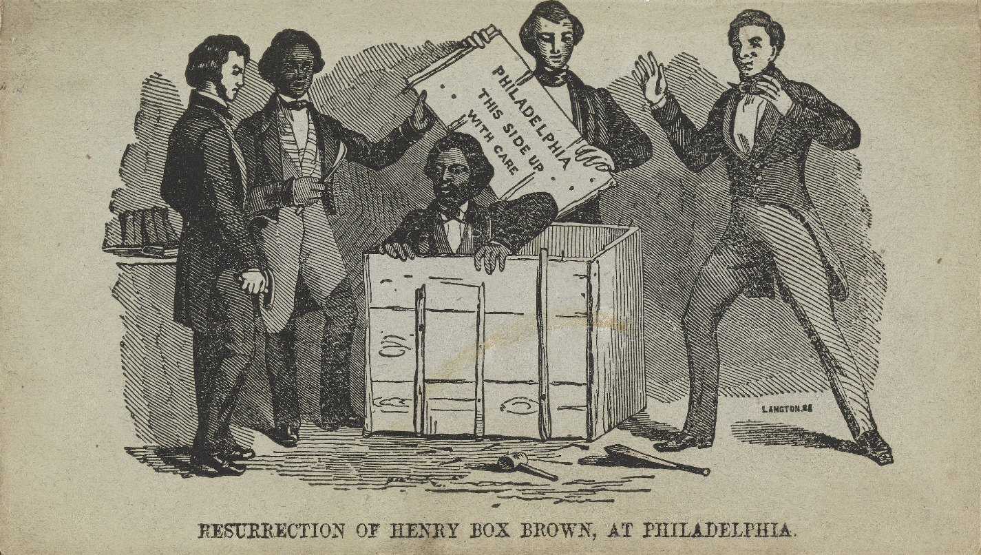 A lithograph of a man coming out of a box