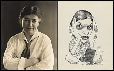 photo of a woman in a white shirt and tie and a drawing of a woman with her head in her hands