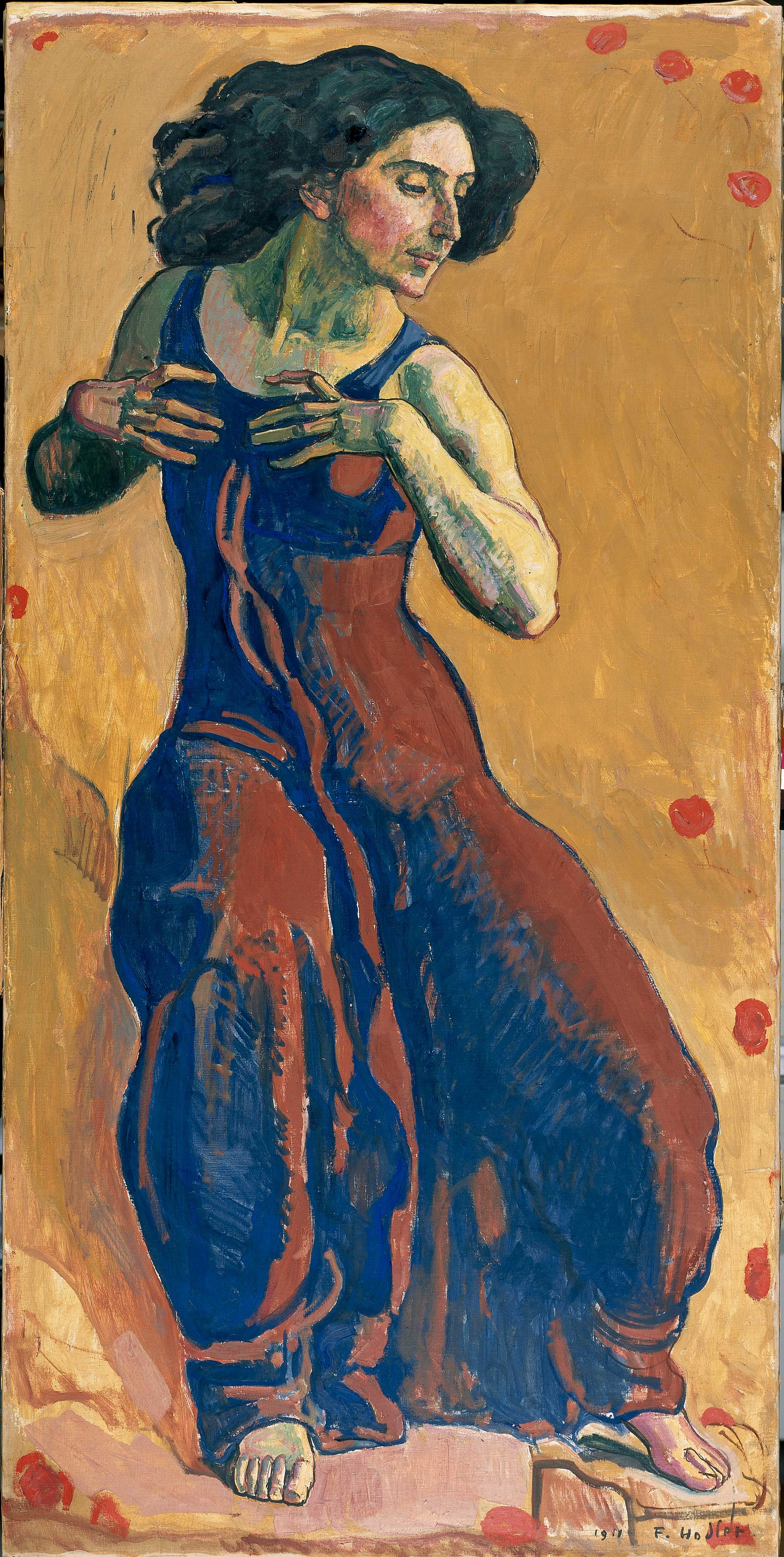 Painting of a woman dancing against a brightly colored background