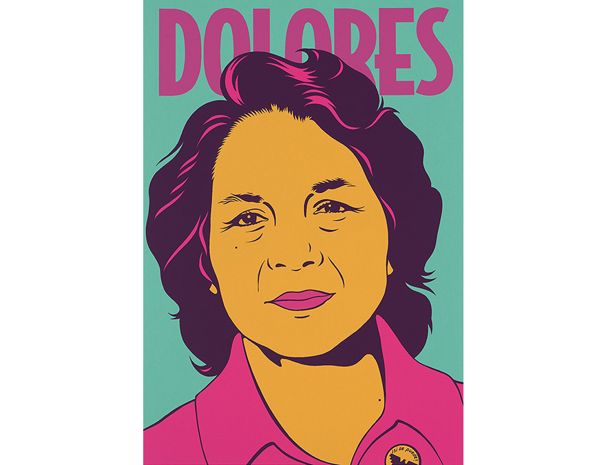 Colorful graphic portrait of Dolores Huerta in a pink shirt.