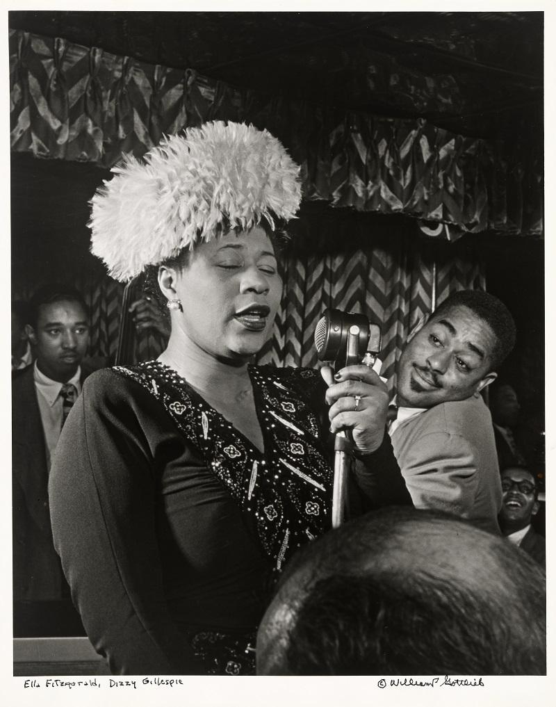 Ella Fitzgerald (with Ray Brown, Dizzy Gillespie, and Milt Jackson) by William Paul Gottlieb.