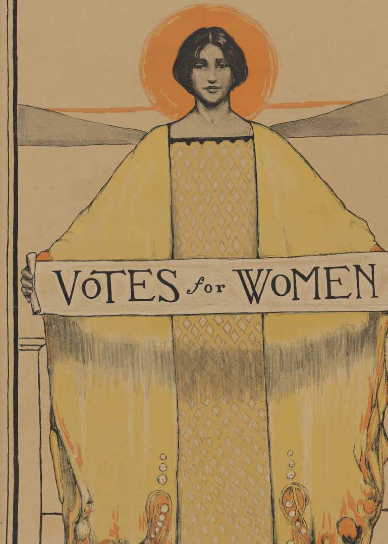 Poster of a woman in a robe holding a Votes for Women banner