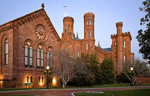 The Smithsonian Castle at dusk