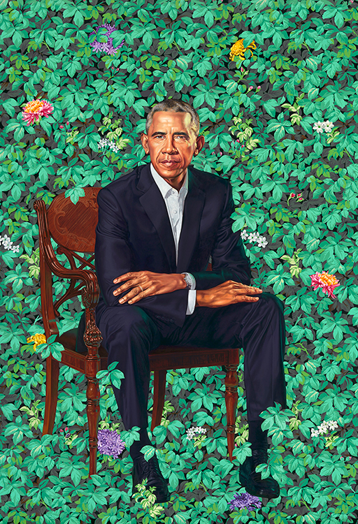 President Barack Obama sitting in a leafy setting