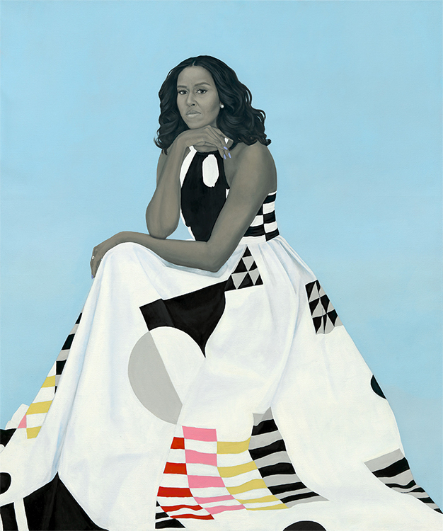 MIchelle Obama in a white dress