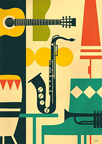 graphic art depicting musical instruments