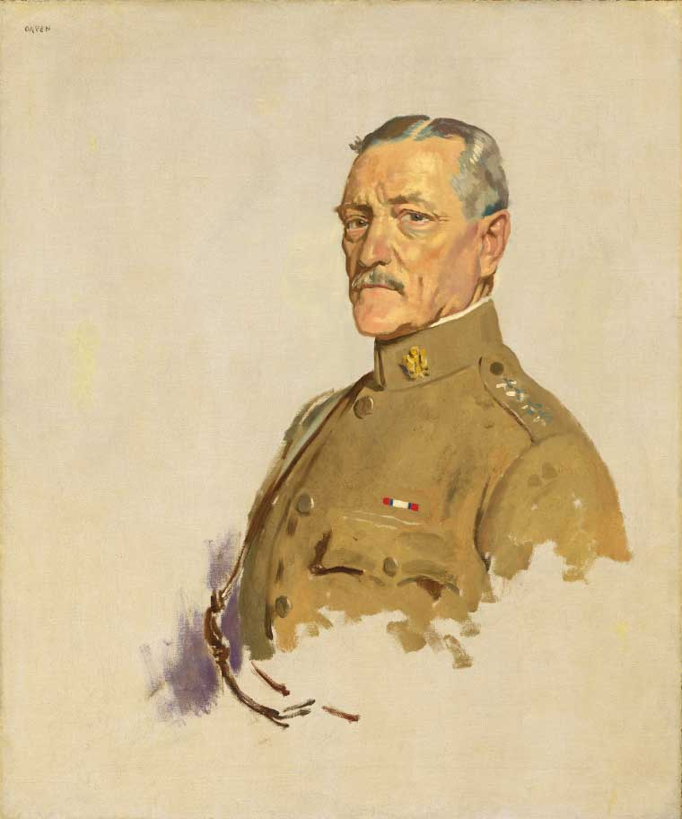 Unfinished painting of a stern looking man in a military uniform