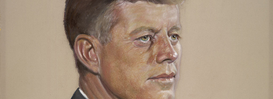 Close-up pastel drawing of JFK in brown and gold tonalities.