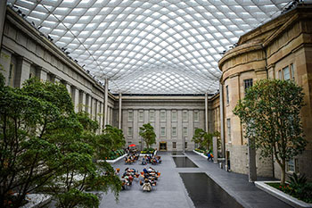 Kogod Courtyard, an open courtyard with glass canopy