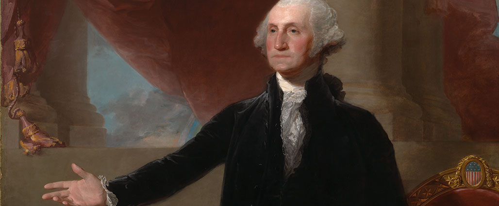 Painted portrait of George Washington with hand outstretched