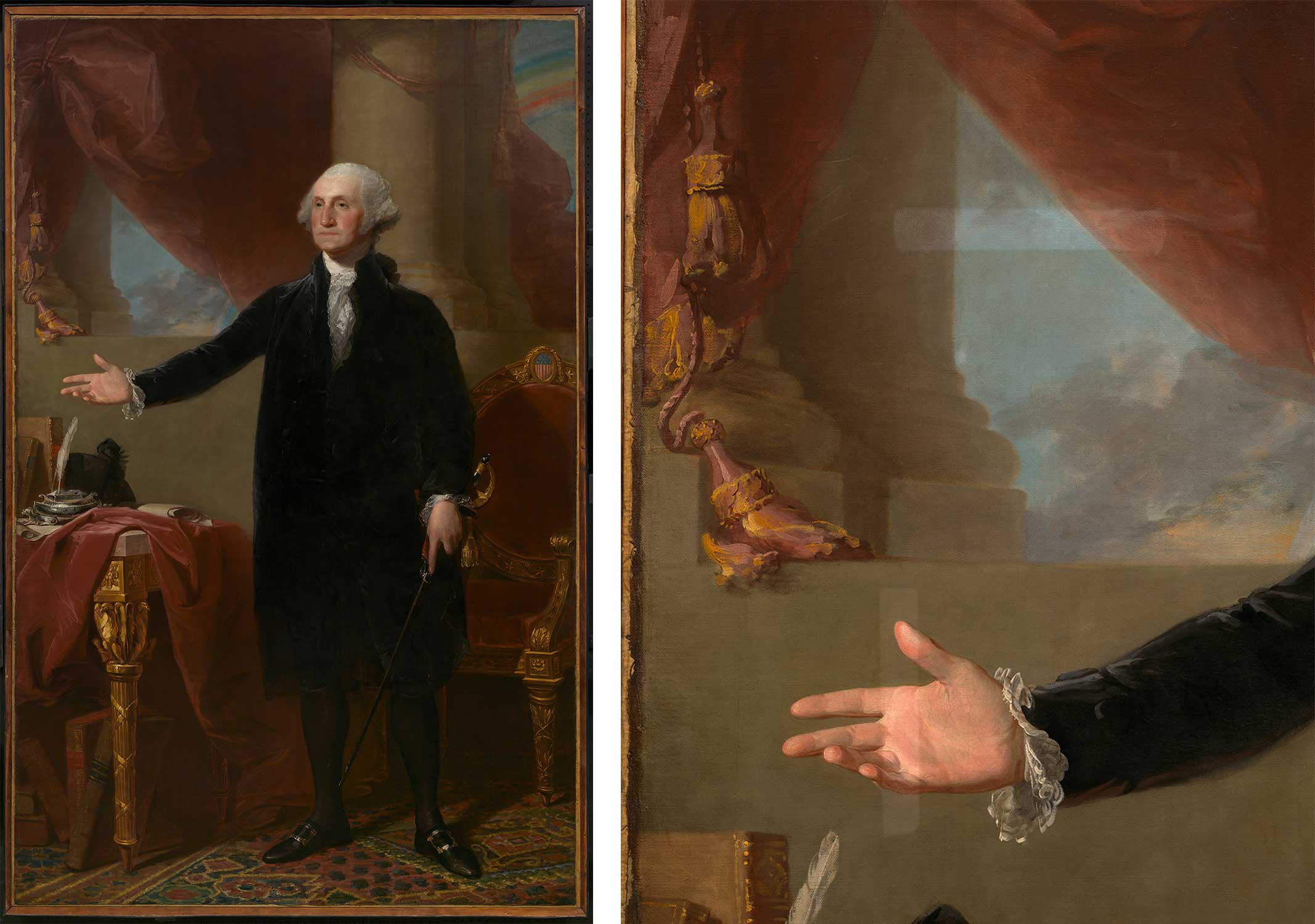 An image of the entire Lansdowne portrait and a close up of its hand being cleaned