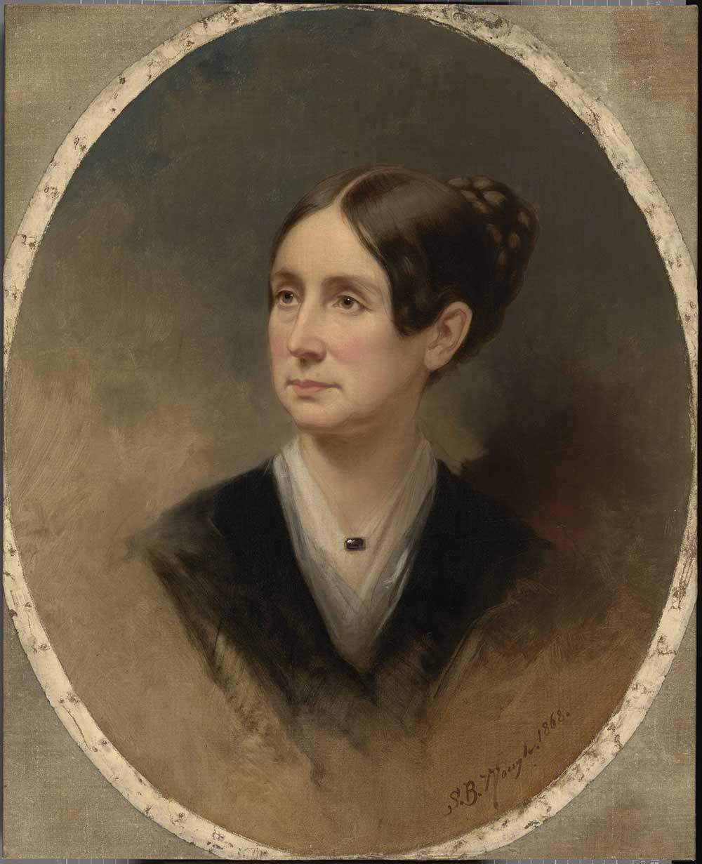 Painted portrait of Dorothea Dix in circular frame