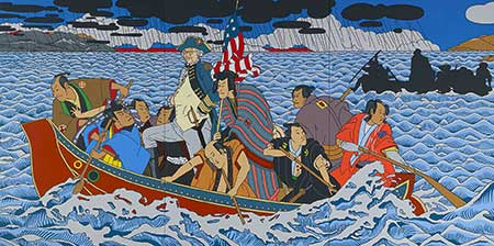 Painted portrait of asian man crossing the Delaware river with American flag, like George Washington