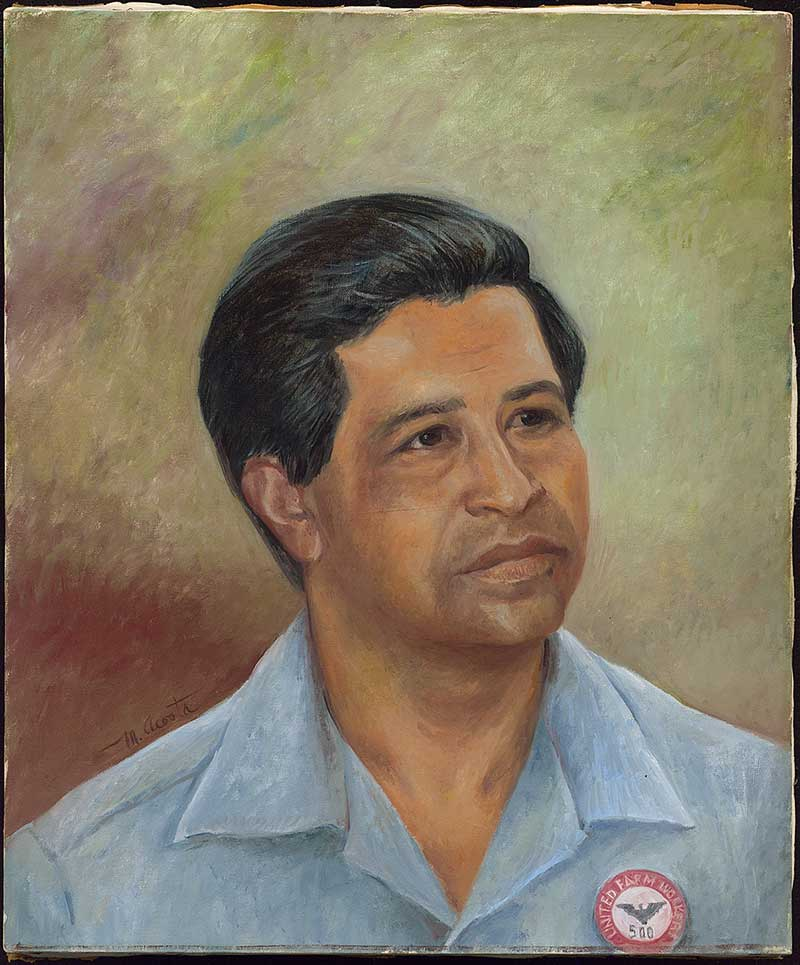 Painted portrait of Cesar Chavez