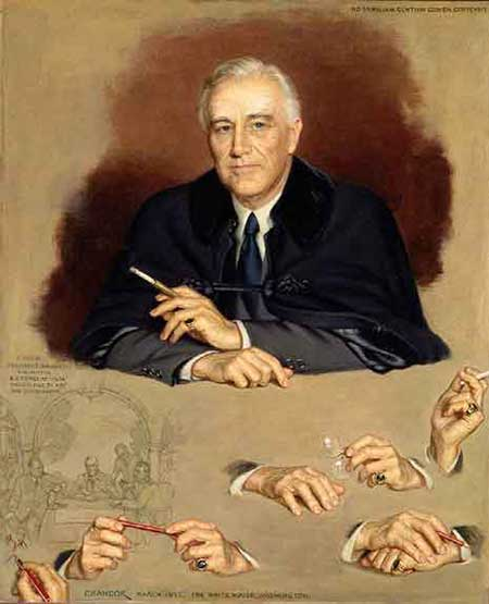 Painted portrait of Franklin Delano Roosevelt