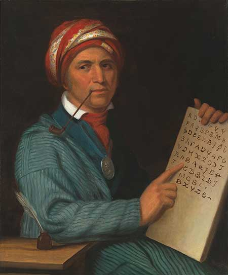 Painted portrait of Sequoyah
