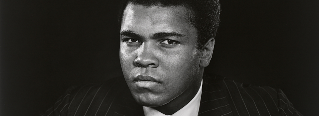 black and white photograph of Muhammad Ali