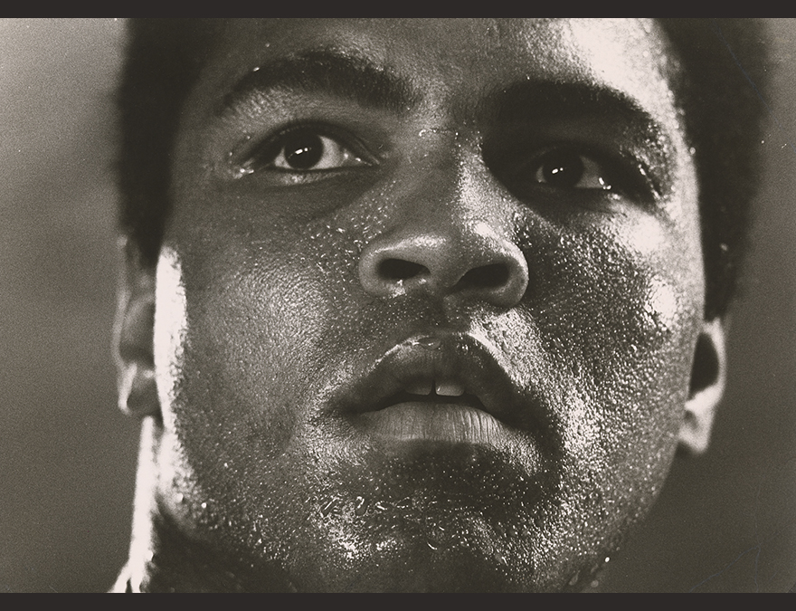 Close up of Muhammad Ali's face (with sweat)