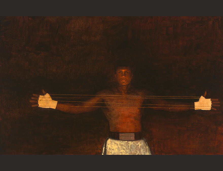 Painting of Muhammad Ali using exercise equipment