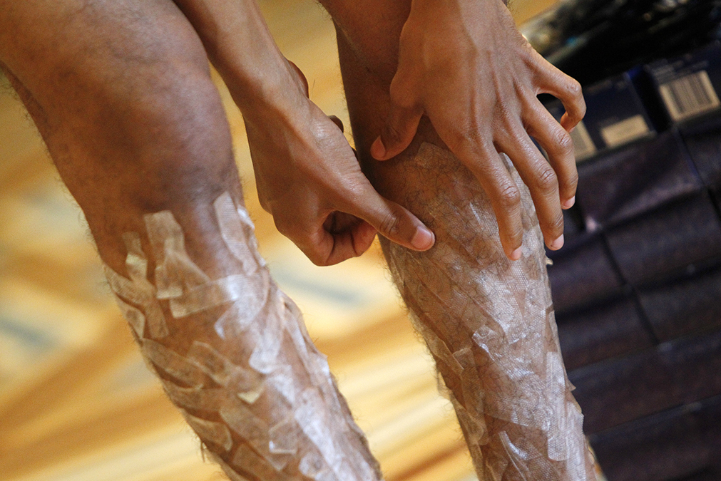 View of a man's legs with white-strips