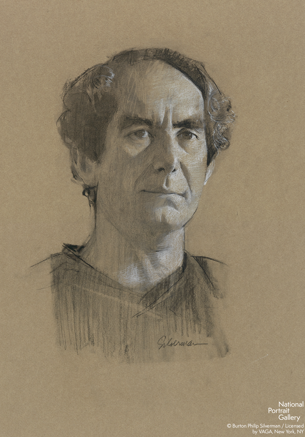 A black and white sketch of a man on dark paper