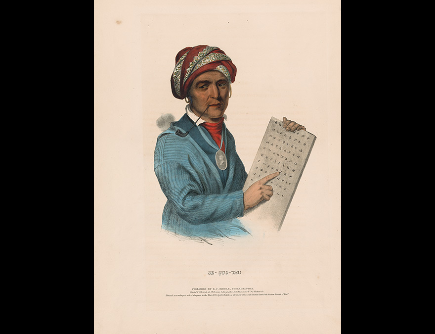 Print of a Native American with a tablet