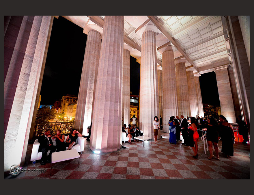 Portico at night lighted from within