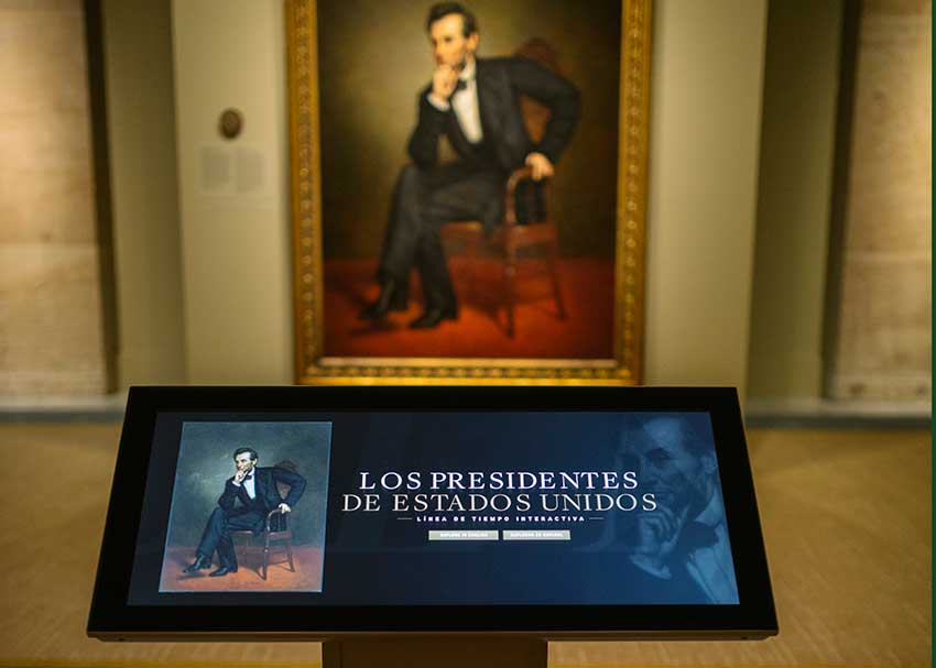 Iinteractive touchtable in The Presidente exhibition