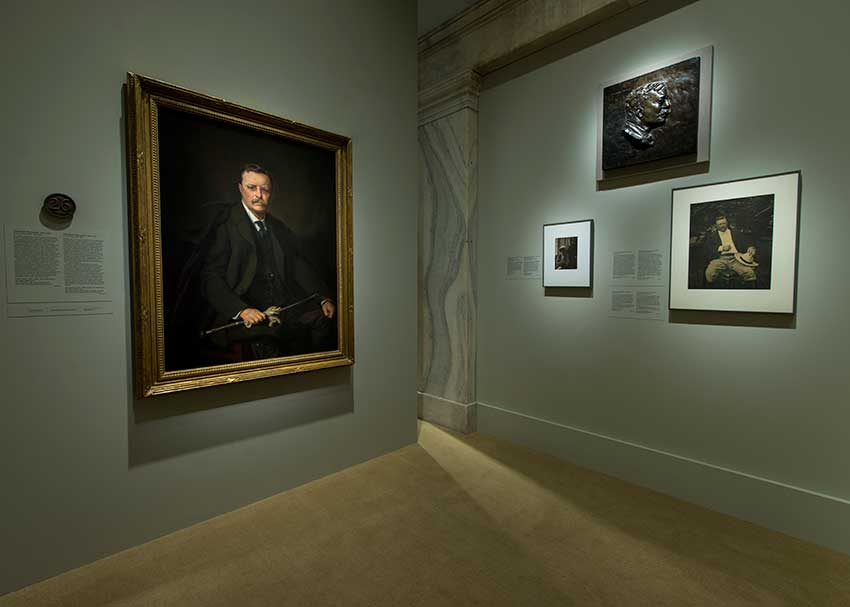 View of exhibition, portraits of Theodore Rossevelt