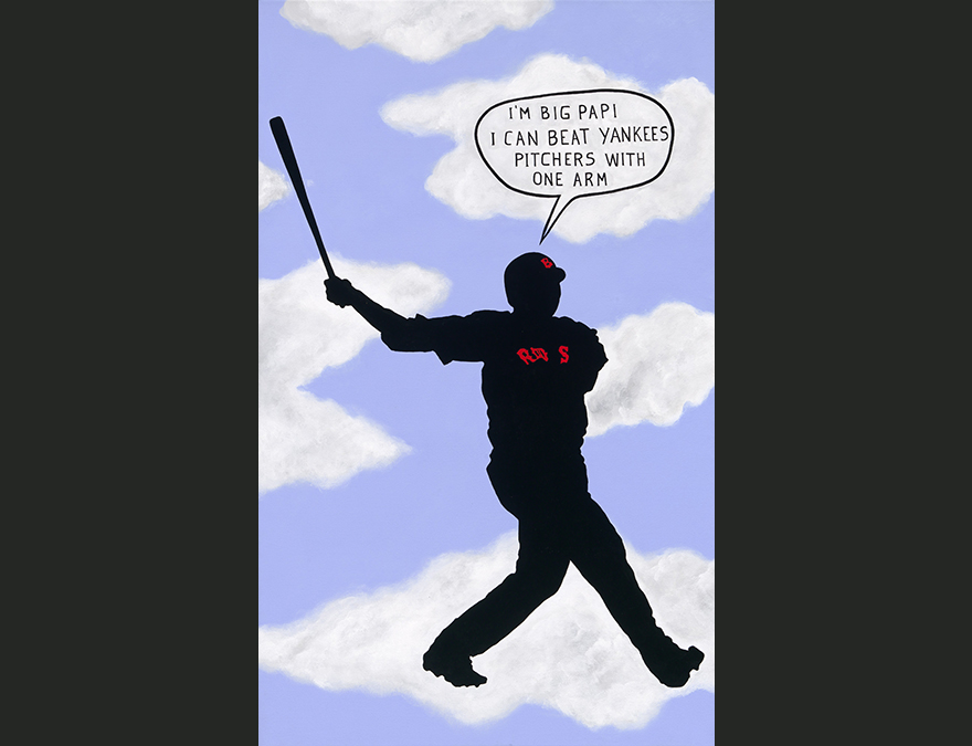silhouette of a baseball player against a cloud background
