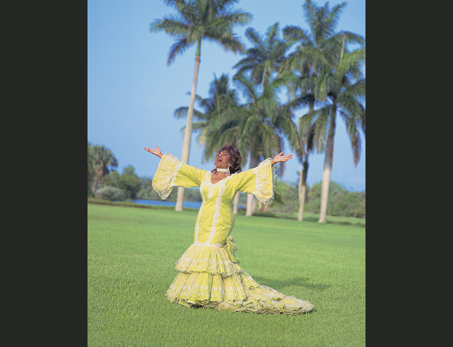 Woman in a long yellow dress on a lawn with palm trees in background