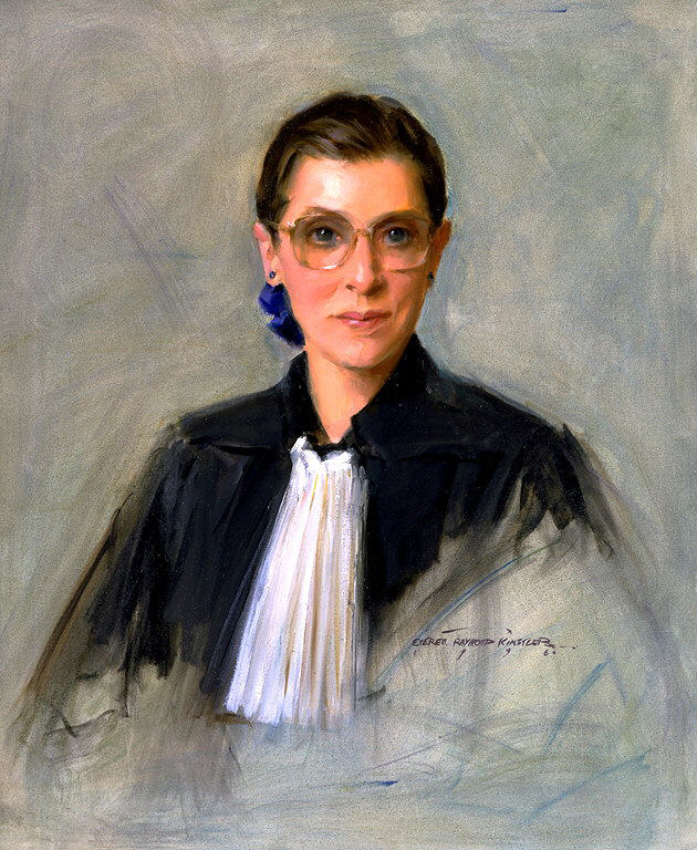 Sketchy painting of a woman's bust wearing a judge's robe
