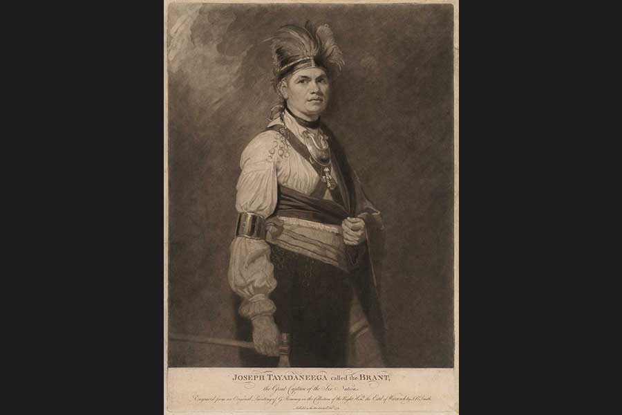 Mezzotint of American Indian man, wearing both western and native American traditional clothing