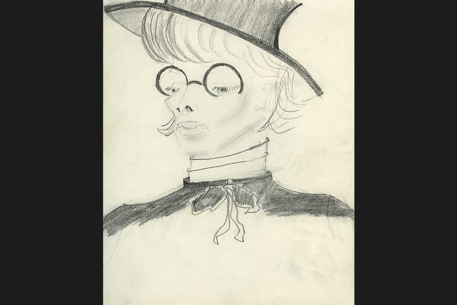 Drawling of woman's face with glasses and hat