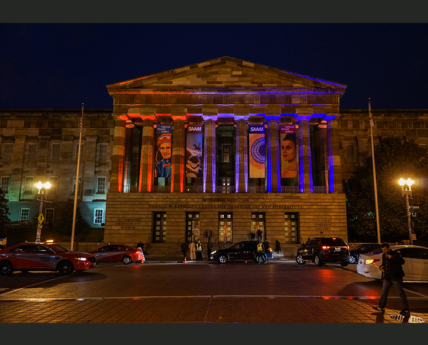 National Portrait Gallery lit for a formal occasion