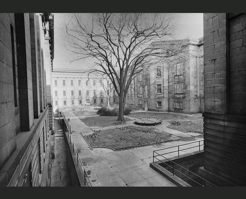Black and white photo of a courtyard