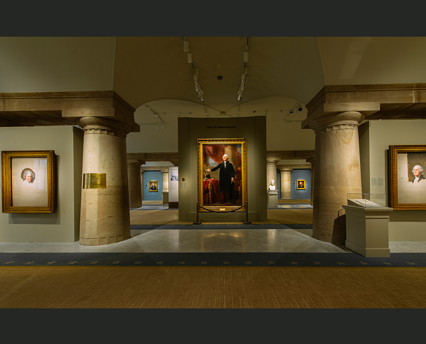 View of paintings in the presidential gallery