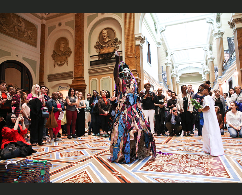 Performance artist in the Great Hall