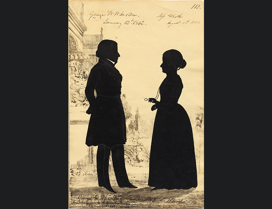Silhouette of a 19th century man and woman facing each other