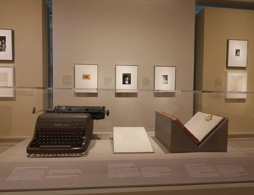 Sylvia Plath's typewriter, in the museum galleries