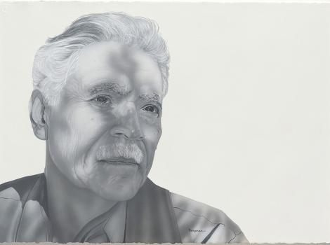 black and white portrait of a man with gray hair and a moustache
