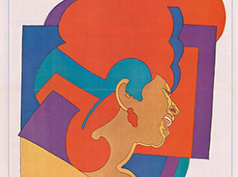 Colorful poster of a woman singing