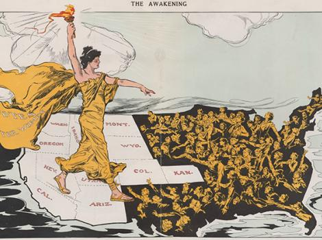 Graphic image of a woman in a long dress striding across a map of the U.S.