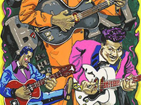 image of three African American men in colorful jackets all playing guitars